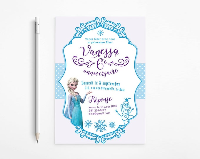 Frozen Birthday Party Invitation | Princess, Elsa, Girl, Snowflakes, Olaf, Whimsical, Turquoise, Purple | Digital file, French, English