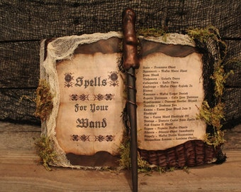 "Harry Potter Spell Book & Wand Set, ""Spells for your Wand"", Harry Potter Decor, Harry Potter Party, Harry Potter Wand, Hogwarts, Unique"