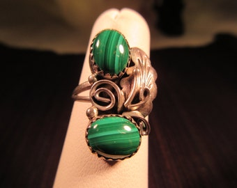 Cool Tribal Sterling Silver GreenTurquoise Ring - 6