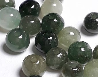 6pcs Jadeite Beads (Grade B) - Natural Jadeite Beads - Dark Green Gemstones - Jadeite Gemstones - Stone Beads - 5mm Beads - B66204