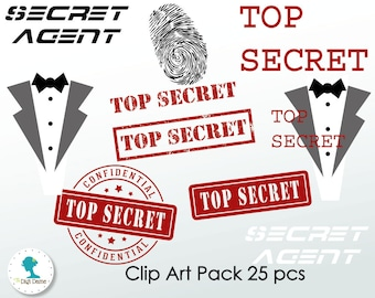 Secret Agent/Spy Digital Scrapbooking Clip Art, Buy 2 Get 1 FREE. Instant Download