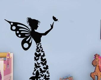 Butterfly Girl, Handmade Sticker, Butterflies, Wall Sticker, Interior Sticker,  Window Sticker, Car Sticker, Wall Decal, Wall Decor