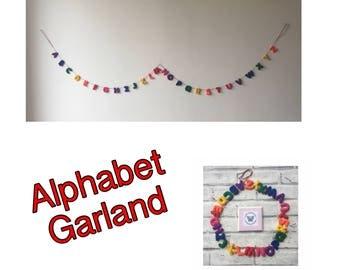 Alphabet garland, abc garland, alphabet bunting, alphabet wall hanging, playroom garland , nursery garland, nursery decor