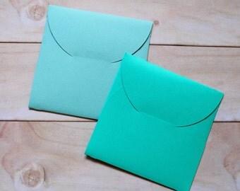 "Square Envelopes - Handmade, Turquoise - 4"" - Set of 8"