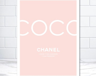 Pink Coco Chanel Print Chanel Poster Chanel Art Coco Canvas Unframed Print Poster Art Canvas - blush pink scandinavian art