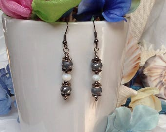 Pearlized Gray Rondell Beaded Drop Earring,Gray ,White Pearly Earrings, Antique Metal Drops!