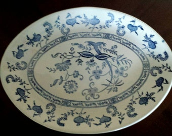 Vintage Blue Onion/Blue Nordic Platter stamped made in USA 1960s D605