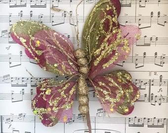 glitter butterflies. velvet butterflies. craft butterflies. glittered velvet butterflies. butterfly adornments.  butterfly wands.