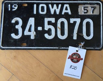 1957 Iowa License Plate with tag