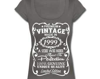 "18th Birthday Gift for Women **VELVETY PRINT** Memorable Scoop Neck T-shirt - Unique ""Made in 1999"" Design - Birthday Gift for Her"