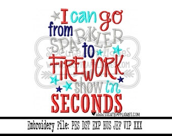 4th of July Embroidery design 5x7 6x10  Fireworks, red white & blue, american, Independence Day,swirl embroidery, flag embroidery, patriotic