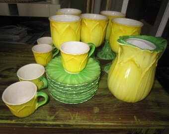 Tastesetter Collection, 17 pieces, AMM Tea Set, Yellow & Green Beverage Set, Floral Drinkware