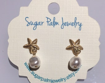 14kg Starfish and Pearl Earrings