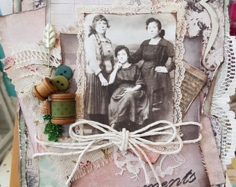 Vintage shabby handmade greeting card, Find some colour in a black and white world greeting card, Memories Captured Vintage style card,