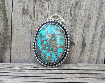 Turquoise Pendant - Redskin Turquoise Pendant - Sterling Silver - Turquoise Jewelry - December Birthstone - Gemstone Pendant - Artisan