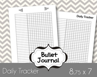Habit Tracker Bullet Journal Printable Paper, can be used with Erin Condren, or Happy Planner - Size 8.5x7.5