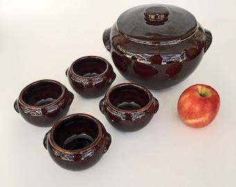 vintage stoneware casserole and bowls for beans, cassoulet, soup