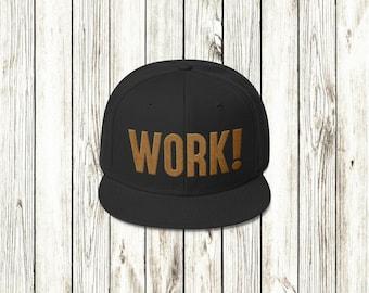 WORK! - Hamilton inspired black snapback cap
