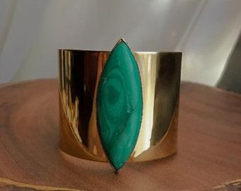 Malachite Cuff Bracelet // Malachite Bracelet // Gold Malachite Bracelet