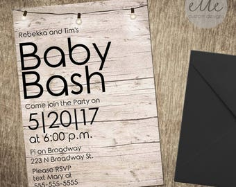 Baby Bash Custom Invitation, Modern Baby Shower Invitation, Wood Print Invitation, Printable Invitation, Custom Invitation