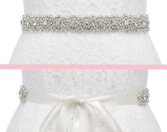 Crystal Bridal Sash, Crystal Wedding Belt, Beaded Sash, Wedding Dress Belt, Beaded Belt, Rhinestone Trim, CAMERON