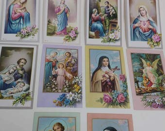 10 vintage Holy Cards Virgin Mary Saints