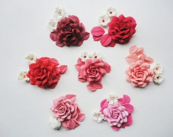 DIY ROSE SET, rose set, cold porcelain rose, handmade rose set, jewelry rose set, porcelain rose set, jewelry flower set, handmade flower