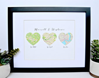 Anniversary Gift ideas for Him, Paper Anniversary Gift, Romantic Gift Ideas, Our Love Story, Husband Gift, We met We Wed We Live, Maps