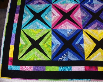Colorful scrappy black background quilt crib quilt couch quilt dorm quilt