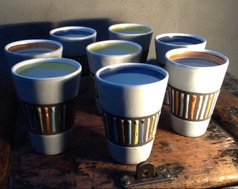 Outstanding 8 Drinking Ceramic Cups by Roger Capron, Vallauris circa mid/late 1960's
