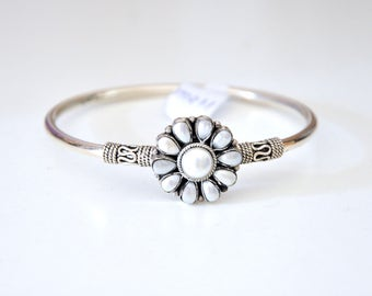 Tribal 92.5 sterling Silver bracelet bangle kada with white stones | antique bangle