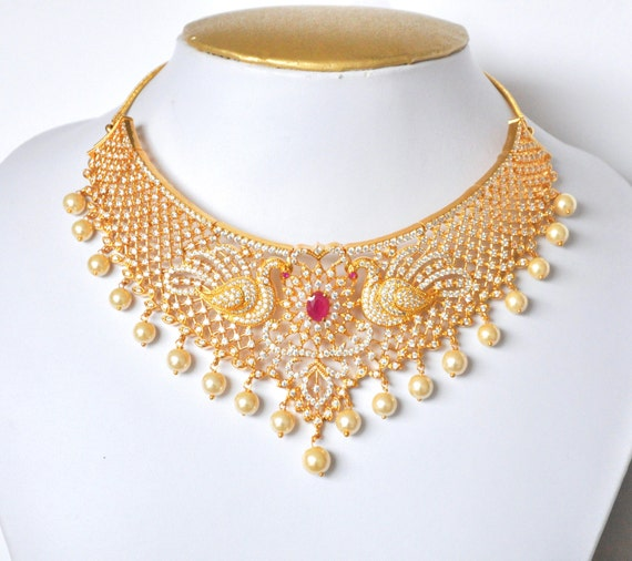 American Diamond peacock bridal necklace set with synthetic ruby stones and faux pearls with jhumki | Indian wedding Jewelry
