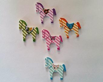 5 Wooden Zebra Button - #SB-000286