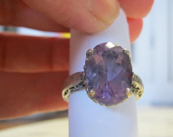 Vintage Amethyst Ring Sterling Silver Kabanna Hallmarked Ring Filigree Ring Size 7 Silver Ring