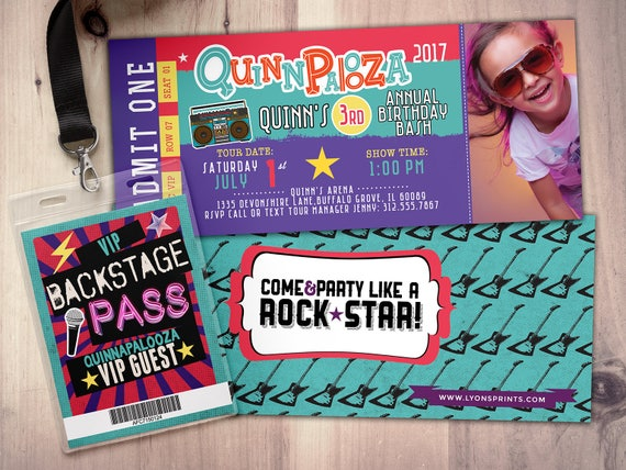 Rock StarConcert ticket birthday invitation girl birthday – Concert Ticket Birthday Invitations