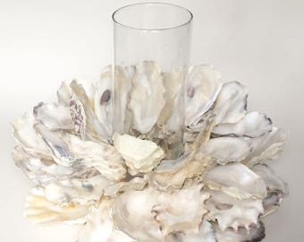 Oyster shell candle holder, indoor/ outdoor beach art