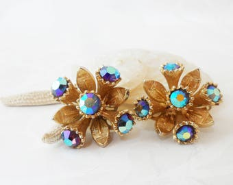 Aurora Borealis Crystal Clip On Earrings Gold Tone Metal Cluster Vintage Jewellery Ladies Accessories