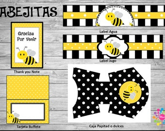 BEE!! Printable party set!! Baby Shower / First Brithday //DIY!! Digital!!