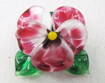 Lampwork pansy bead, 1 pc glass lampwork bead, handmade lampwork beads, artisan glass beads, glass beads for jewelry, bead for pendant