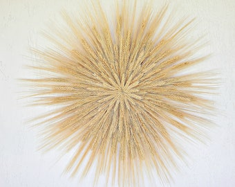 Wheat Wreath, Indoor Wall Decor, Rustic Wall Decor, Year Round Wreath, Starburst  Wall Art, Wheat Wall Hanging