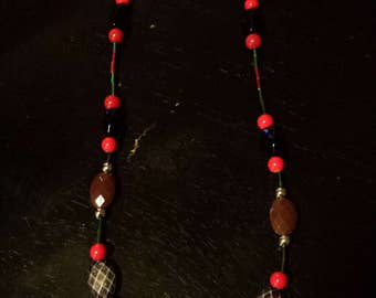 Silver Bead w/Flowers & Black Necklace