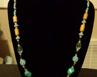 Turquoise & Wood Bead Necklace