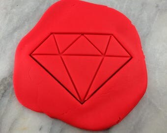 Diamond Cookie Cutter 2-Piece, Stamp & Outline #1 - SHARP EDGES - FAST Shipping - Choose Your Own Size!
