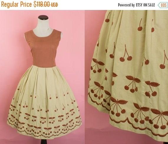 SALE 15% STOREWIDE 1950s cherry embroidered sundress/ 50s novelty fruit brown day dress/ medium