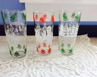 Vintage Drinking Glasses Set of 3 Colonial Williamsburg