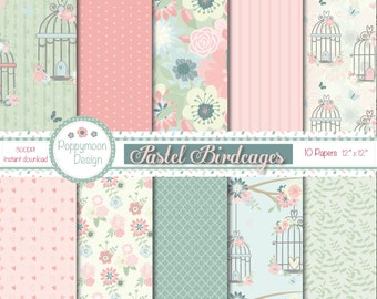 Pastel birdcages, digital paper pack