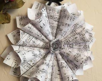 "Paper Cone Wreath, Chopin Sheet Music, Music Note Wreath, Bridal Shower, Wedding Gift, Decor, Glitterglass, 11"""