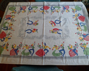 "Vintage Bucilla Tablecloth 36-1/2 x 53"" Whimsical Dancing Folk People Musical Notes Bright Primary Colors!"