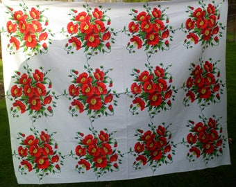 """Vintage 1950's Tablecloth 53 x 66"""" Red Poppies Heavy Cotton Sailcloth"""