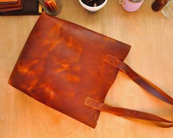Personalised Brown Leather Tote Bag / Leather Tote / Leather Purse / Simplistic Tote / Minimalist Bag in Dark Brown Leather